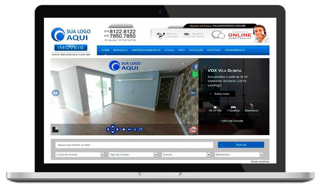 Exemplo de Tour virtual da Plataforma de criação de Tours Virtuais da IMOVEL VIRTUAL 360- Tour virtual no meu site